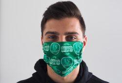 Rechtsaußen Lucas Krzikalla mit einer SC DHfK Gesichtsmaske. Quelle: SC DHfK