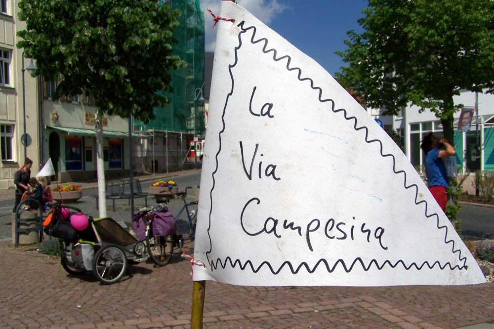 "Fahrraddemonstration für ""La via campesina"" 2019. Foto: Michael Götze"