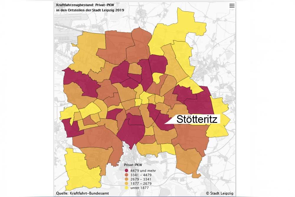 Der Leipziger Kraftfahrzeugbestand nach Ortsteilen. Grafiik: Stadt Leipzig
