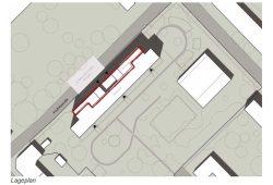 Lageskizze mit dem vorgesetzten neuen Baukörper (rot umrandet): Grafik: Stadt Leipzig