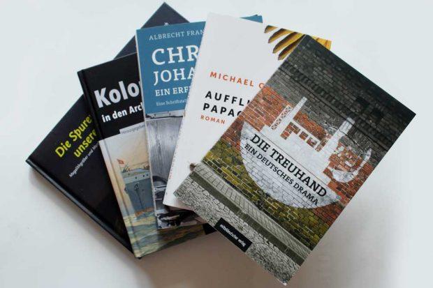 Titel aus dem Frühjahrsprogramm des Mitteldeutschen Verlages. Foto: Ralf Julke