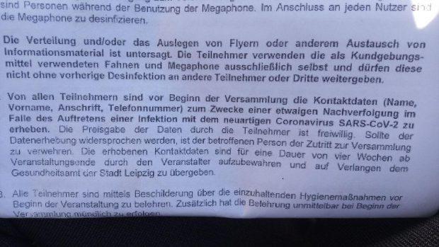 Corona-Regeln am heutigen 20. April 2020 auf der PARTEI-Demo laut Ordnungsamt Leipzig. Foto: L-IZ.de
