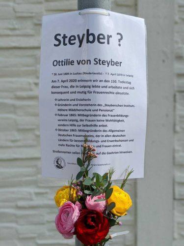 Der Infotext am Straßenschild der Steyberstraße. Foto: Louise-Otto-Peters-Gesellschaft
