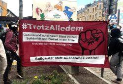Demonstrieren am 1. Mai trotz Coronakrise? In Leipzig in Minimalausgabe. Foto: L-IZ.de