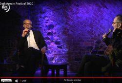 """David Gray und """"Kruppe"""" bei der gemeinsamen Moderation in der Moritzbastei. Screen Livestream"""