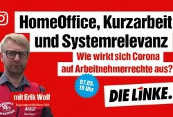 Online-Gespräch mit DGB-Regionalgeschäftsführer Erik Wolf. Quelle: Sören Pellmann