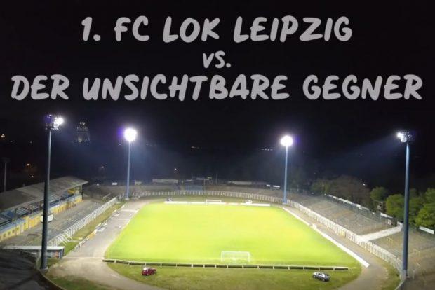 In Probstheida brannte wieder Licht. Foto: Video-Screenshot/ 1. FC Lok