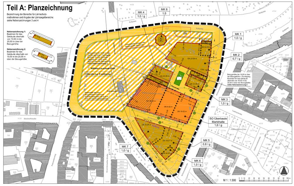 Planzeichnung für das ganze Plangebiet Wilhelm-Leuschner-Platz / Markthallenviertel. Karte: Stadt Leipzig