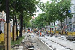 Gleisbau in der Bornaischen Straße. Foto: Ralf Julke