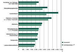 Durchschnittlicher Bruttomonatsverdienst vollzeitbeschäftigter Arbeitnehmerinnen und Arbeitnehmer 2019nach ausgewählten Wirtschaftsbereichen im Freistaat Sachsen. Grafik: Freistaat Sachsen, Statistisches Landesamt