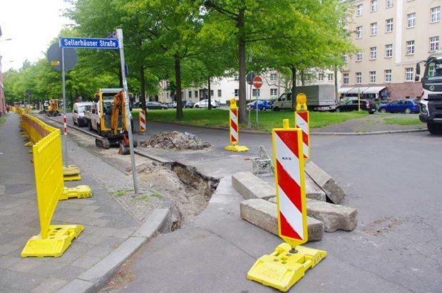 Straßenbaustelle in der Gregor-Fuchs-Straße. Foto: Bürgerverein Anger-Crottendorf e.V.