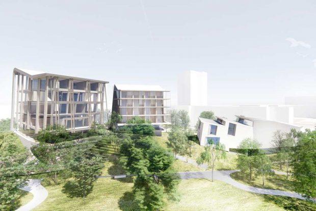 So sollen Kita und Musikakademie auf dem Gelände von Gurken-Schumann aussehen. Visualisierung: Snøhetta, Innsbruck, Österreich