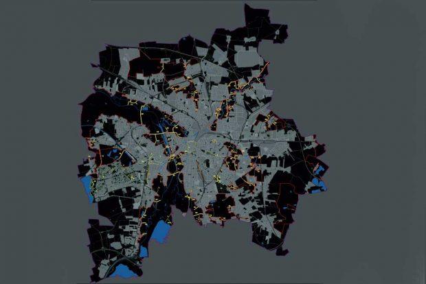 Karte mit lichtempfindlichen Gebieten aus dem Lichtmasterplan der Stadt. Karte: Stadt Leipzig