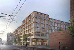 Entwurf für das neue Gebäude zwischen Wächterstraße und Nonnenmühlgasse. Visualisierung: Unnewehr Packbauer Architekten / grauwald studio