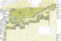 Der Plan für die neue Grünanlage mit Teich und Graben. Karte: Stadt Leipzig