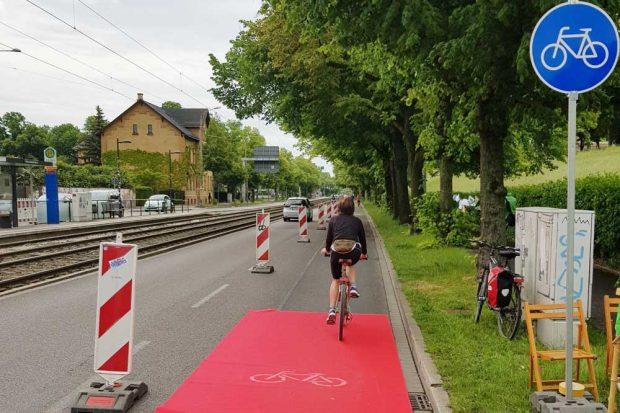 Bikelane in der Prager Straße am 23. Mai. Foto: Volker Holzendorf