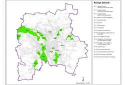 """Ruhige Gebiete"" im Lärmaktionsplan. Karte: Stadt Leipzig, Lärmaktionsplan"