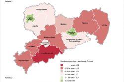 Bevölkerungsentwicklung nach Kreisen bis 2035. Karte: Freistaat Sachsen, Statistisches Landesamt