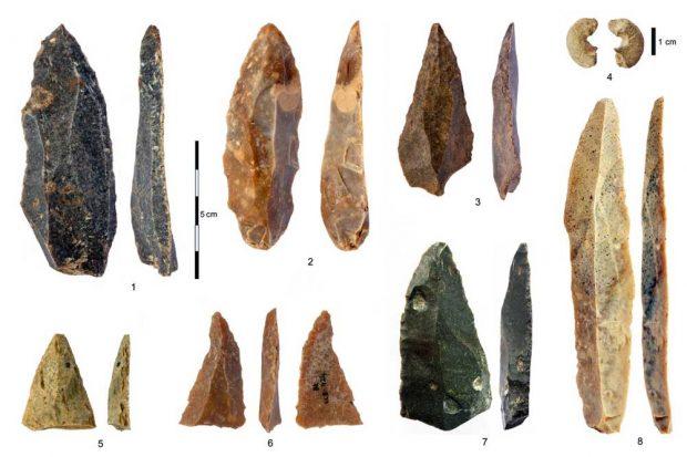 Steinartefakte aus dem frühen Jungpaläolithikum (IUP) aus der Bacho-Kiro-Höhle: 1-3, 5-7 spitze Klingen und Fragmente aus Schicht I; 4 Sandsteinperle, deren Gestalt Knochenperlen ähnelt; 8 die längste vollständige Klinge. Foto: Tsenka Tsanova, Lizenz: CC-BY-SA 2.0