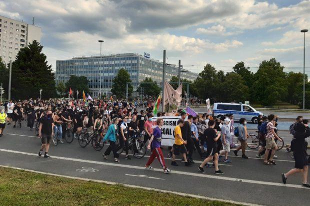 Der Protst wure aus Leipzig und Chemnitz unterstützt. Foto: Luise Mosig