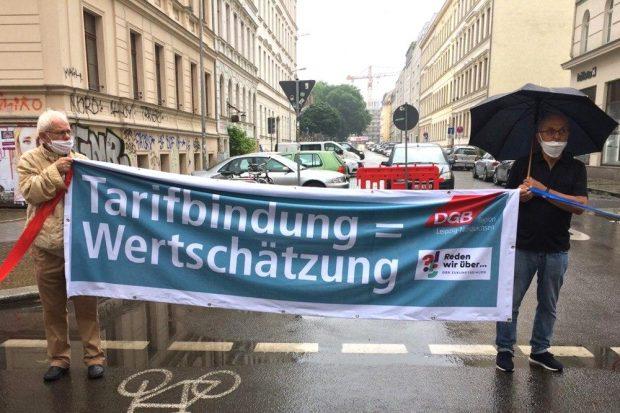 Der DGB mit dem Hinweis auf faire Bezahlungen (nicht nur in Corona-Zeiten). Foto: L-IZ.de