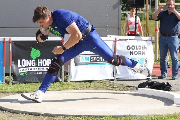 Mit seinen 20,45 Metern im Trainingswettkampf war David Storl (SC DHfK) recht zufrieden. Foto: Jan Kaefer