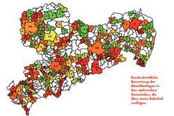 Flickenteppich: Wie der ADFC die Radabstellanlkagen in den Bahnhöfen derf jeweiligen Region bewertet. Karte: ADFC Sachsen