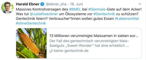"""Tweet von Harald Ebner zum """"Genmais-Gate"""". Screenshot: Harald Ebner"""