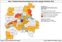 Einwohnerentwicklung in den Leipziger Ortsteilen 2019. Grafik: Stadt Leipzig, Quartalsbericht IV/ 2019