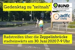 Einladung zum Gedenktag auf der Zeppelinbrücke. Foto: ADFC / BUND Leipzig