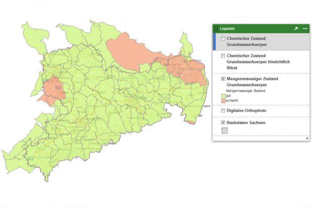 Mengenmäßiger Zustand der Grundwasserkörper in Sachsen. Karte: Freistaat Sachsen, LfULG