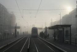 Im Nebel: Leipziger Straßenbahn. Foto: Ralf Julke