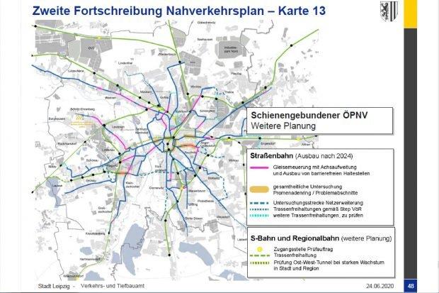 Lauter Prüfaufträge zum ÖPNV aus dem Nahverkehrsplan 2019. Karte: Stadt Leipzig
