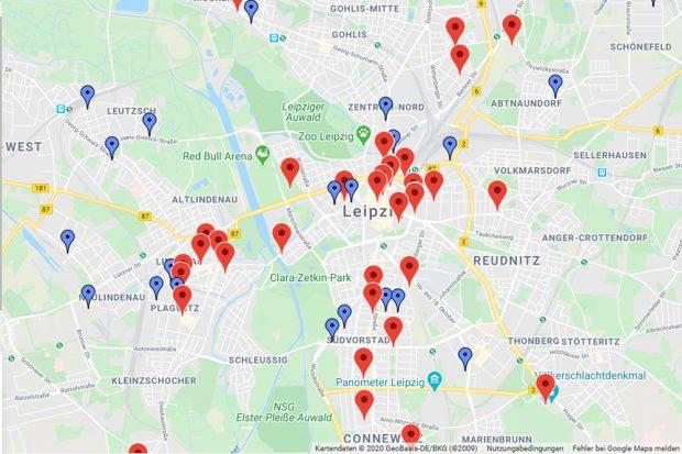 """Erleuchtete Gebäude zur """"Night of Light"""" in Leipzig. Karte: night-of-light.de"""