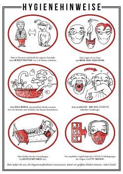 Plakat mit den Hygienehinweisen für den Westflügel. Grafik: Robert Voss