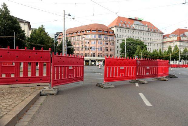 Alternative Reiserouten auf dem Goerdelerring sind schon gebaut, bevor es richtig losgeht. Foto: L-IZ.de