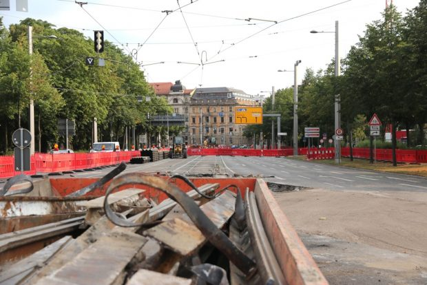 Blick auf die Baustelle auf dem Goerdeler-Ring Richtung Käthe-Kollwitz-Straße. Foto: L-IZ.de