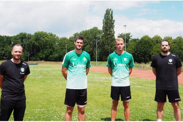 Das Trainerteam André Haber & Milos Putera zusammen mit den Neuzugängen Kristian Saeveraas und Martin Larsen. Quelle: SC DHfK