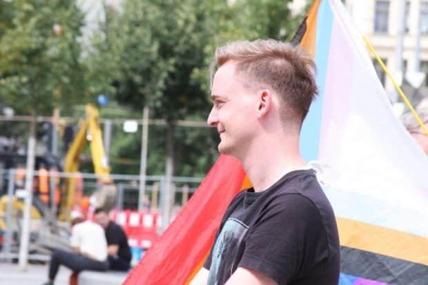 Marco Böhme auf der Demo gegen den Flughafenausbau am 24. Juli 2020. Foto: L-IZ.de