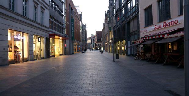 Die Leipziger Innenstadt auf dem Höhepunkt der Coronakrise im März. Foto: LZ