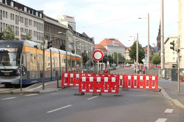 Ranstädter Steinweg bis zum Goerdeler Ring gesperrt, der Radweg ist dennoch nutzbar. Foto: L-IZ.de