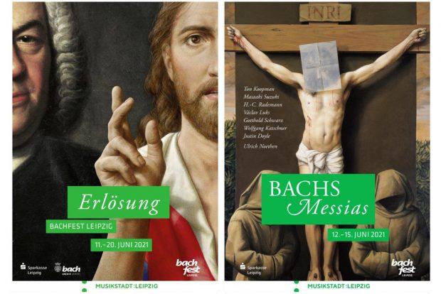 Zwei Plakatmotive von Michael Triegel für das Bachfest 2021. Grafik: Bacharchiv Leipzig