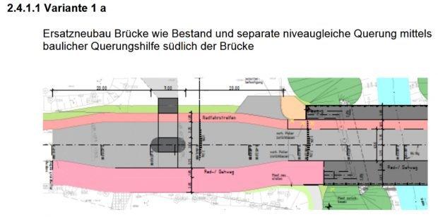 Die Vorzugsvariante mit Querungshilfe südlich der Brücke. Grafik: Stadt Leipzig