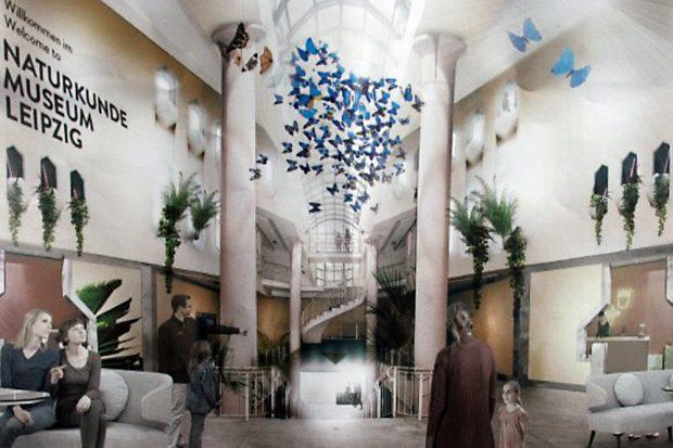 So soll das Foyer künftig aussehen. Visualisierung: KOCMOC
