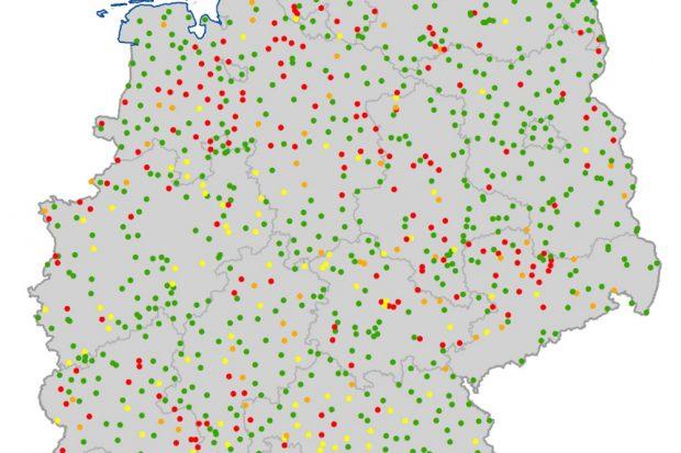 Nitratbelastung im Grundwasser. Rote Punkte: Grenzwertüberschreitungen. Karte: BMU, Nitratbericht 2020