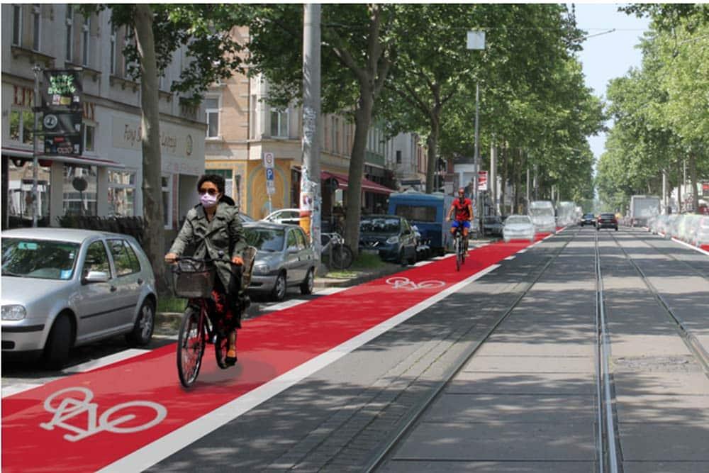 So könnte die Karl-Heine-Straße mit Radfahrstreifen aussehen. Grafik: Ökolöwe