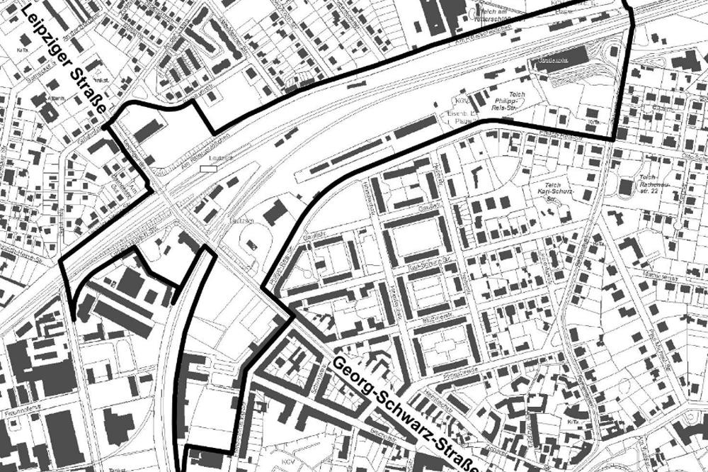 Das Plangebiet zwischen Ludwig-Hupfeld-Straße (unten) und dem ehemaligen Straßenbahndepot der LVB (oben). Grafik: Stadt Leipzig