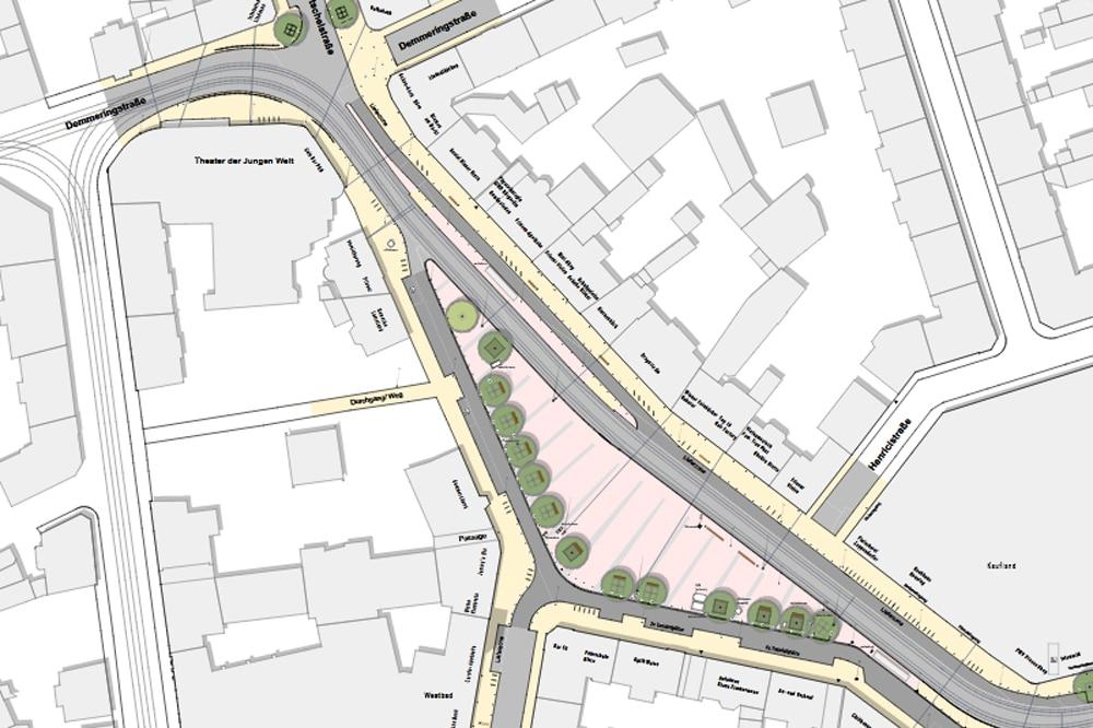 Plandarstellung des umgestalteten Lindenauer Marktes. Grafik: Stadt Leipzig