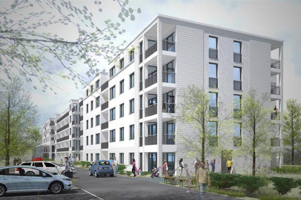 Die neuen LWB-Häuser in der Landsberger Straße 120 - 126. Visualisierung: RAU Architekten / IPROconsult GmbH