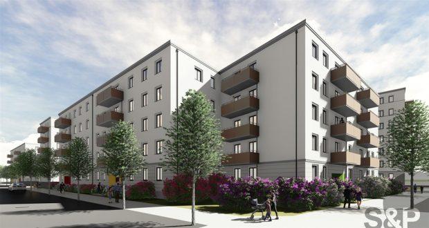 Die neuen LWB-Wohneinheiten in der Saalfelder Straße. Visualisierung: S&P Sahlmann – Ingenieure und Architekten Leipzig